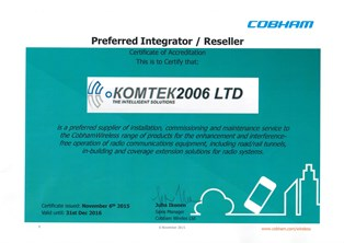 Cobham Wireless Certificate